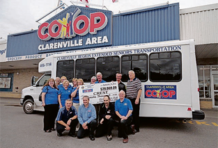 CREST committee accepts a cheque for $20,000 from the Clarenville Lions Club and Co-op 50/50